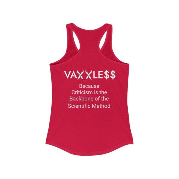 VAXXLE$$ - Women's Dark Racerback Tank Top - Because Criticism is the Backbone of the Scientific Method